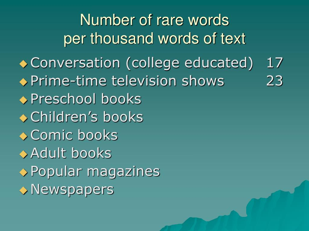 Number of rare words