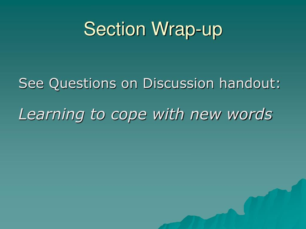 Section Wrap-up