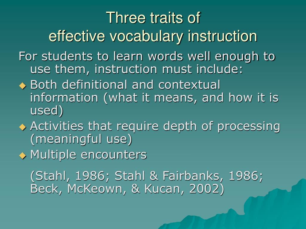 Three traits of