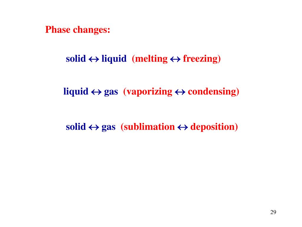 Phase changes: