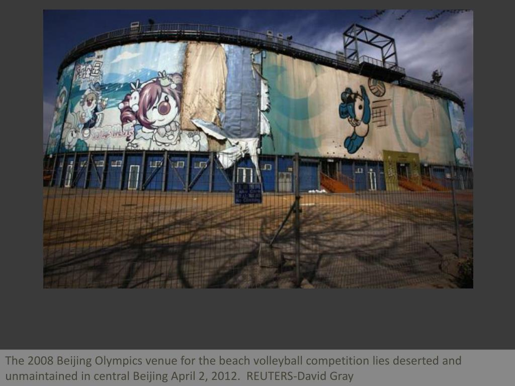 The 2008 Beijing Olympics venue for the beach volleyball competition lies deserted and unmaintained in central Beijing April 2, 2012.  REUTERS-David Gray