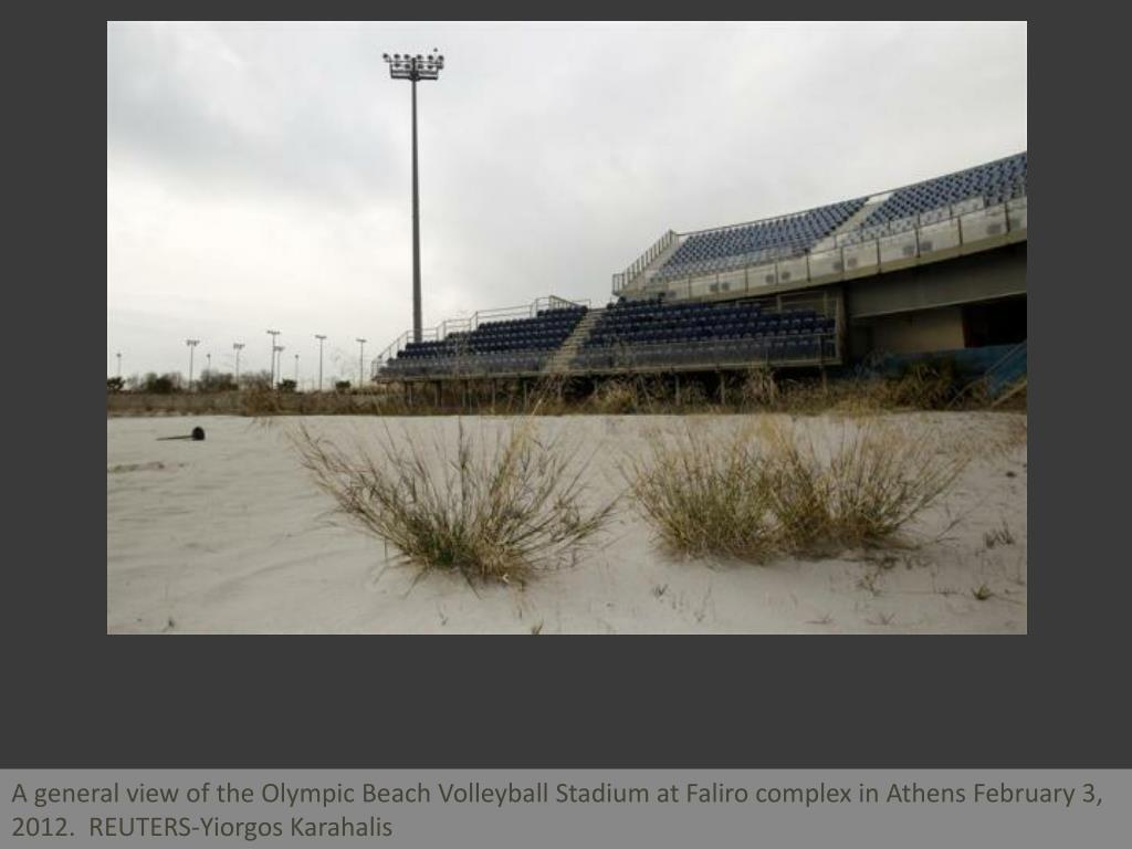 A general view of the Olympic Beach Volleyball Stadium at Faliro complex in Athens February 3, 2012.  REUTERS-Yiorgos Karahalis