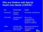 who are children with special health care needs cshcn