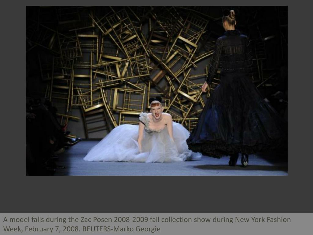 A model falls during the Zac Posen 2008-2009 fall collection show during New York Fashion Week, February 7, 2008. REUTERS-Marko Georgie