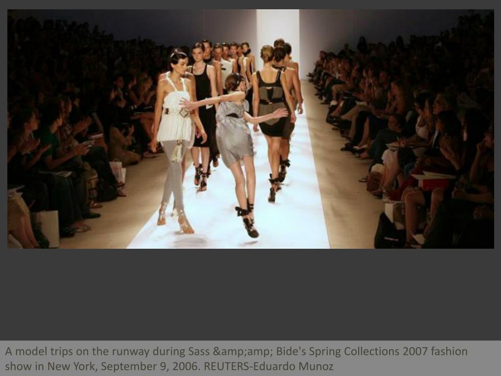 A model trips on the runway during Sass & Bide's Spring Collections 2007 fashion show in New York, September 9, 2006. REUTERS-Eduardo Munoz
