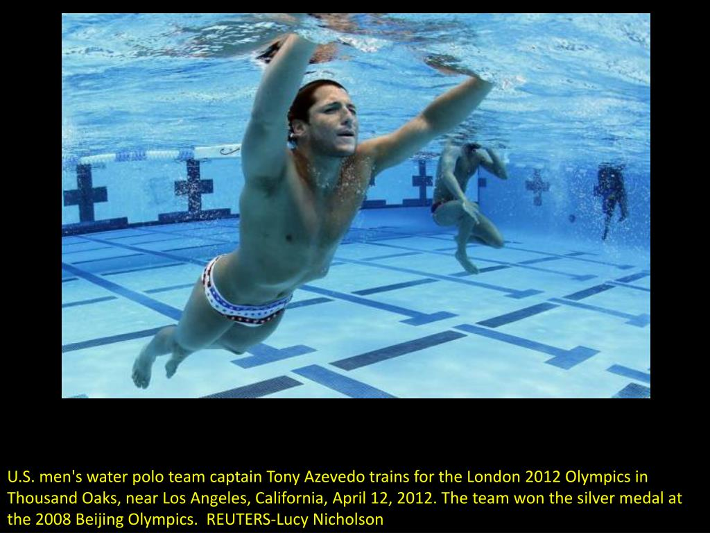U.S. men's water polo team captain Tony Azevedo trains for the London 2012 Olympics in Thousand Oaks, near Los Angeles, California, April 12, 2012. The team won the silver medal at the 2008 Beijing Olympics.  REUTERS-Lucy Nicholson