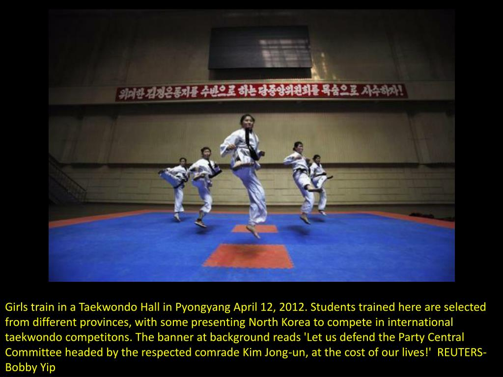 Girls train in a Taekwondo Hall in Pyongyang April 12, 2012. Students trained here are selected from different provinces, with some presenting North Korea to compete in international taekwondo competitons. The banner at background reads 'Let us defend the Party Central Committee headed by the respected comrade Kim Jong-un, at the cost of our lives!'  REUTERS-Bobby Yip