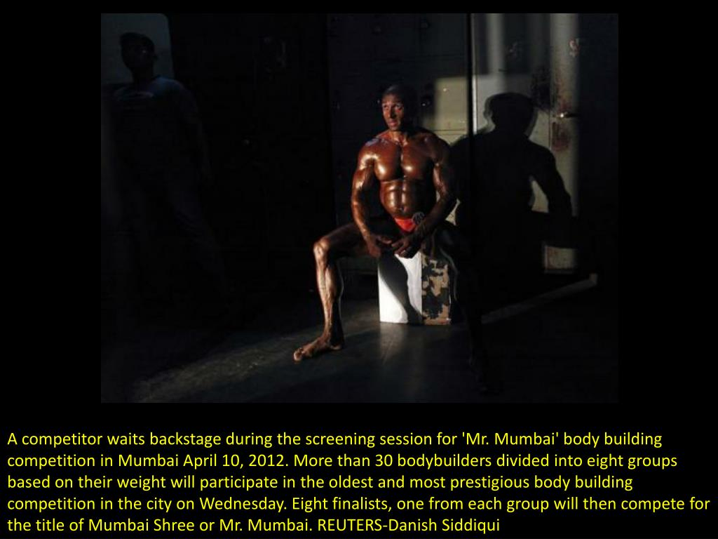 A competitor waits backstage during the screening session for 'Mr. Mumbai' body building competition in Mumbai April 10, 2012. More than 30 bodybuilders divided into eight groups based on their weight will participate in the oldest and most prestigious body building competition in the city on Wednesday. Eight finalists, one from each group will then compete for the title of Mumbai Shree or Mr. Mumbai. REUTERS-Danish Siddiqui