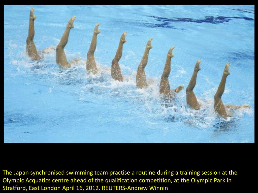The Japan synchronised swimming team practise a routine during a training session at the Olympic Acquatics centre ahead of the qualification competition, at the Olympic Park in Stratford, East London April 16, 2012. REUTERS-Andrew Winnin
