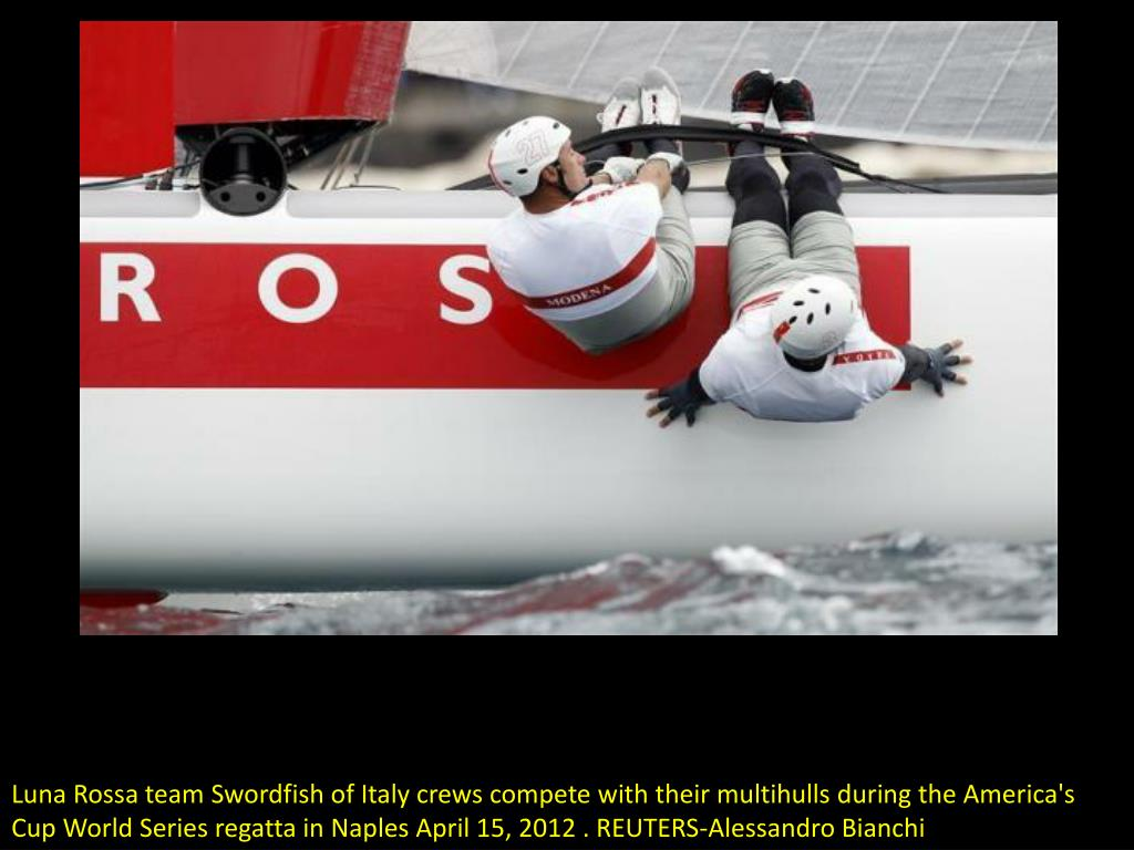 Luna Rossa team Swordfish of Italy crews compete with their multihulls during the America's Cup World Series regatta in Naples April 15, 2012 . REUTERS-Alessandro Bianchi