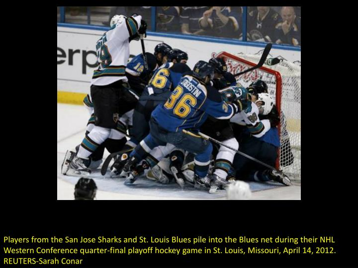 Players from the San Jose Sharks and St. Louis Blues pile into the Blues net during their NHL Wester...