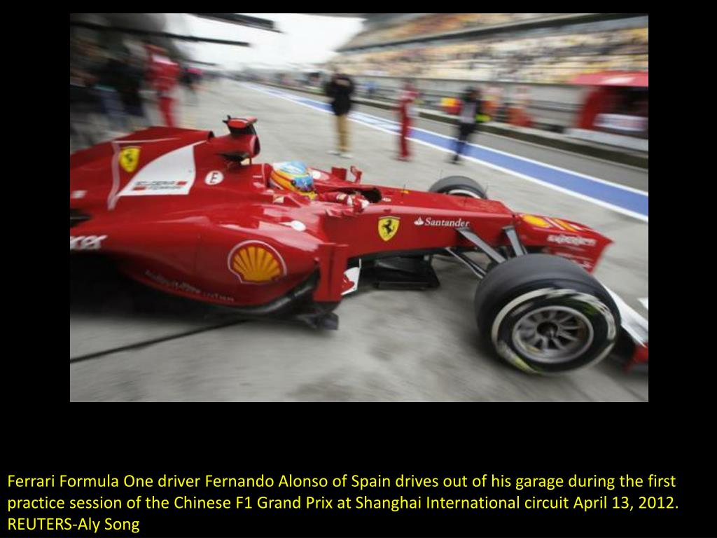 Ferrari Formula One driver Fernando Alonso of Spain drives out of his garage during the first practice session of the Chinese F1 Grand Prix at Shanghai International circuit April 13, 2012.   REUTERS-Aly Song