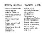 healthy lifestyle physical health