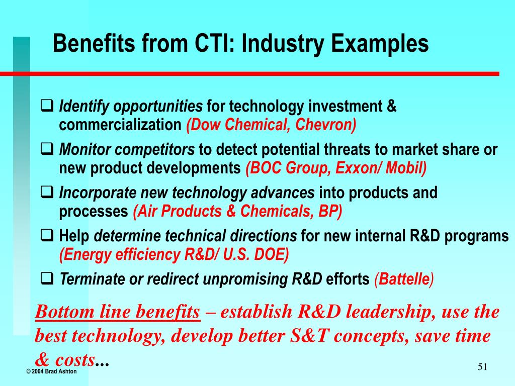 Benefits from CTI: Industry Examples