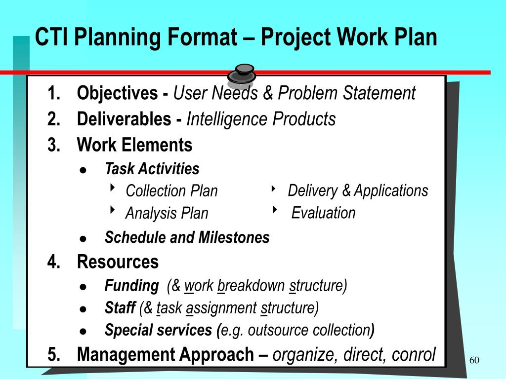 CTI Planning Format – Project Work Plan