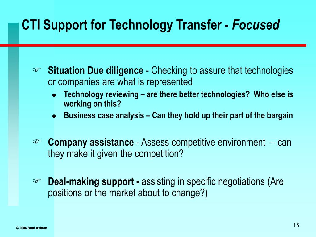 CTI Support for Technology Transfer -
