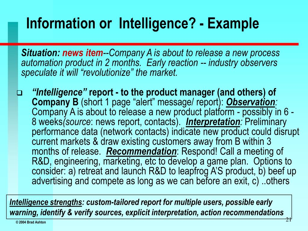 Information or  Intelligence? - Example