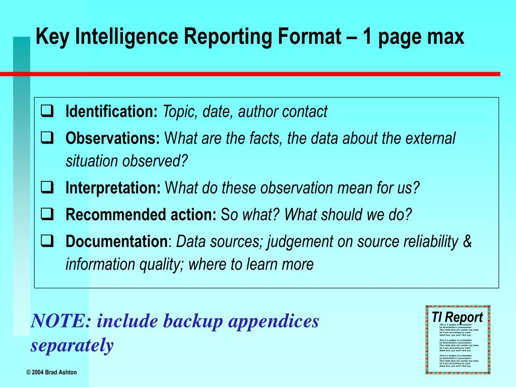 Key Intelligence Reporting Format – 1 page max