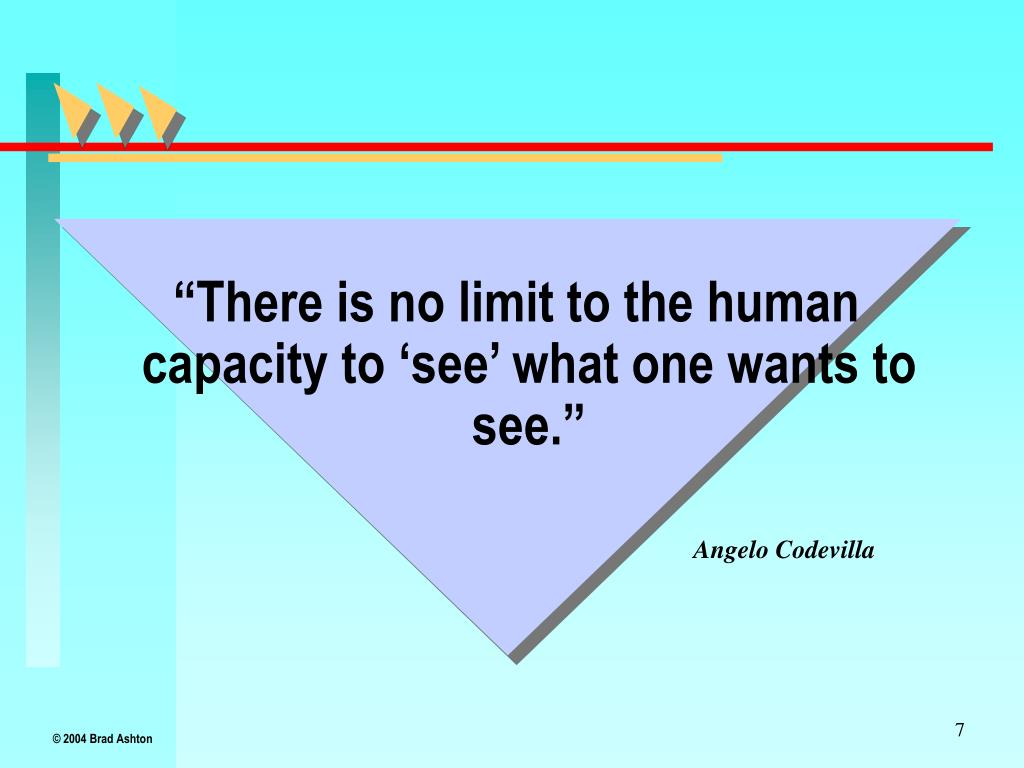 """There is no limit to the human capacity to 'see' what one wants to see."""