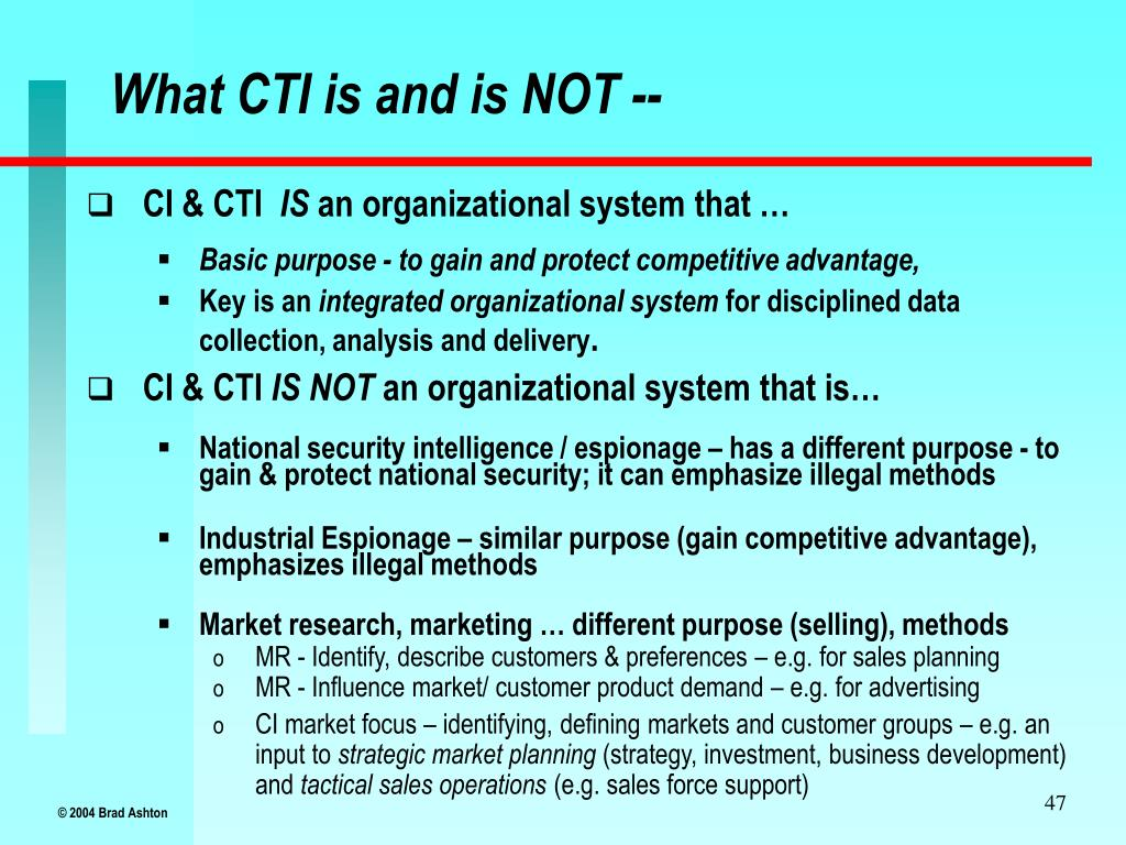 What CTI is and is NOT --