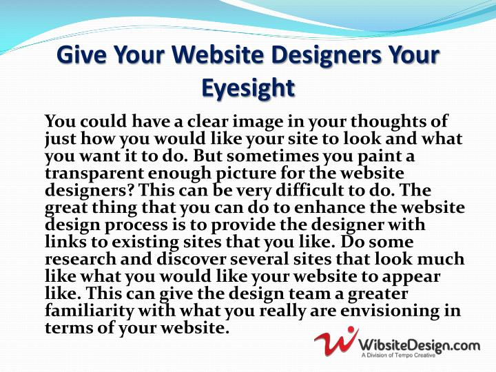 Give your website designers your eyesight