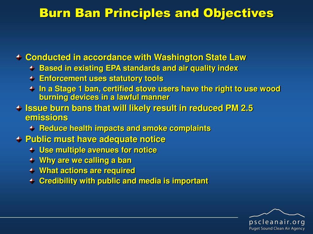 Burn Ban Principles and Objectives