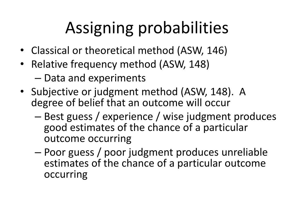 Assigning probabilities