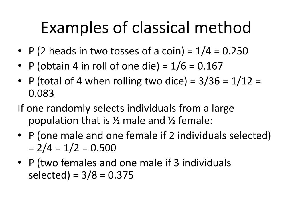 Examples of classical method