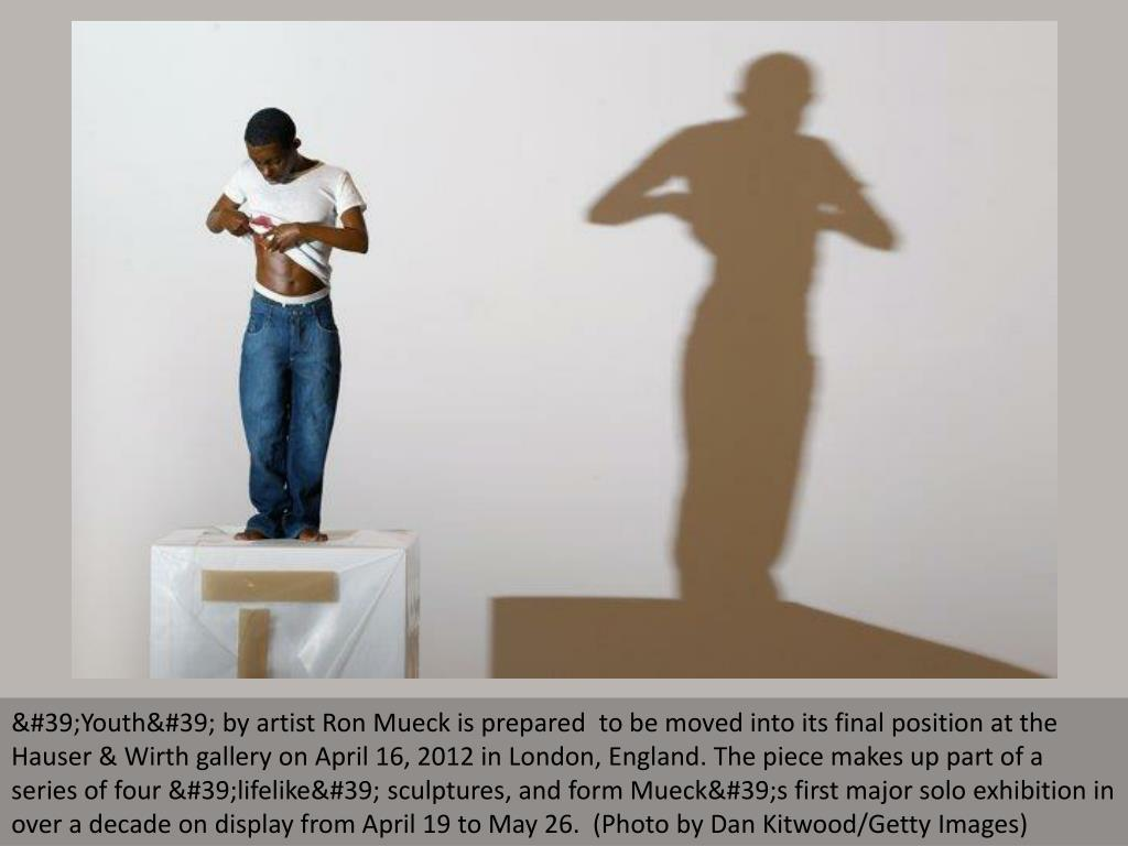 'Youth' by artist Ron Mueck is prepared  to be moved into its final position at the Hauser & Wirth gallery on April 16, 2012 in London, England. The piece makes up part of a series of four 'lifelike' sculptures, and form Mueck's first major solo exhibition in over a decade on display from April 19 to May 26.  (Photo by Dan Kitwood/Getty Images)