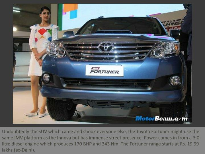 Undoubtedly the SUV which came and shook everyone else, the Toyota Fortuner might use the same IMV p...
