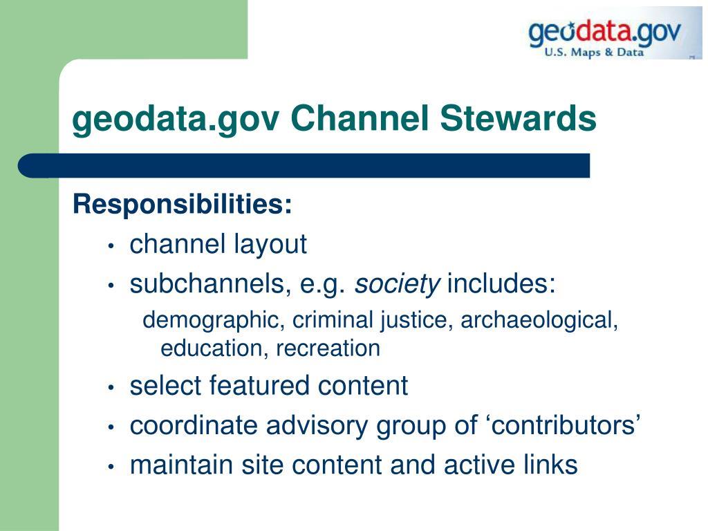 geodata.gov Channel Stewards
