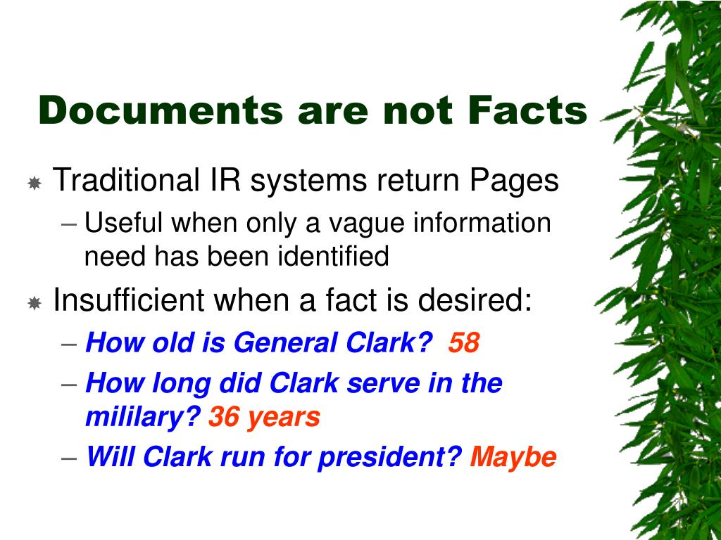 Documents are not Facts