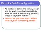 basis for self reconfiguration