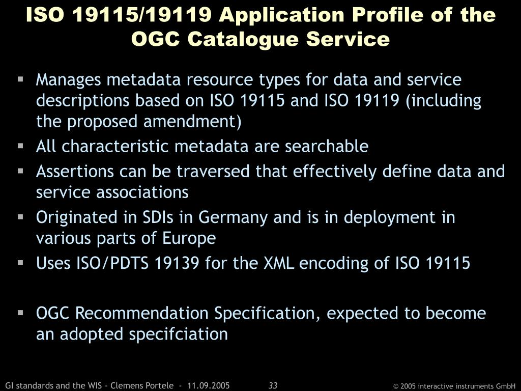 ISO 19115/19119 Application Profile of the OGC Catalogue Service