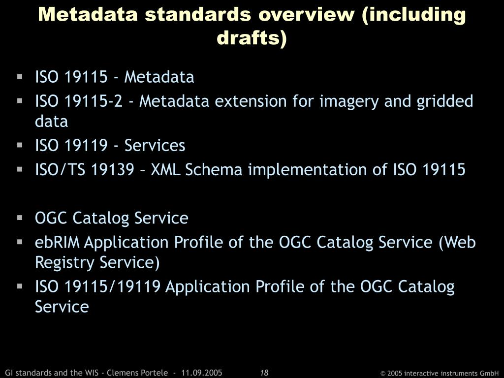 Metadata standards overview (including drafts)