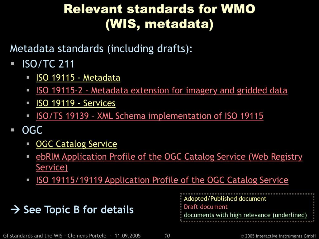 Relevant standards for WMO
