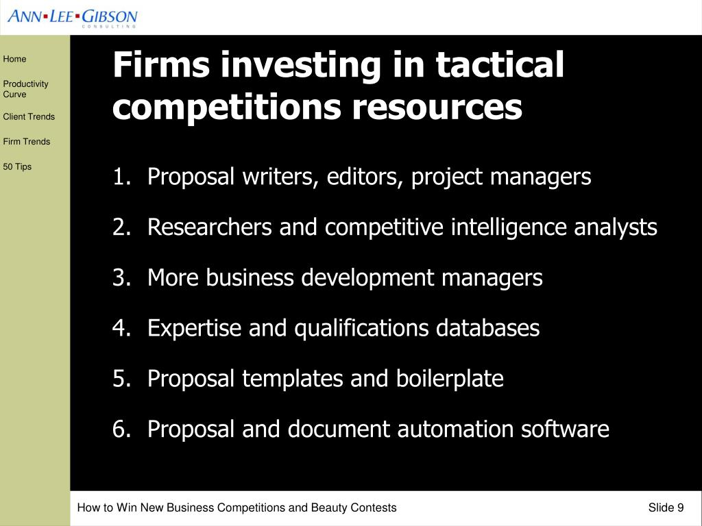 Firms investing in tactical competitions resources