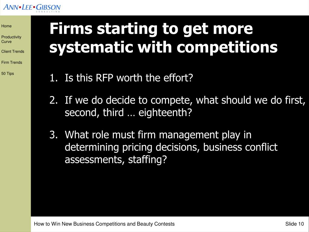 Firms starting to get more systematic with competitions