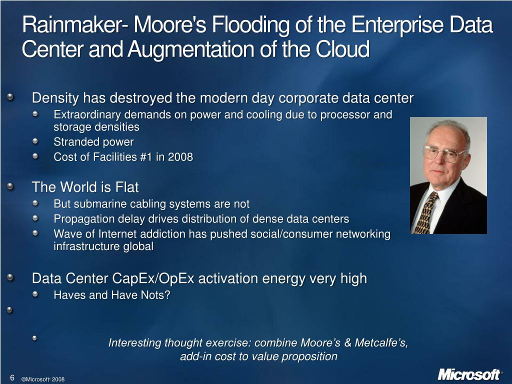 Rainmaker- Moore's Flooding of the Enterprise Data Center and Augmentation of the Cloud