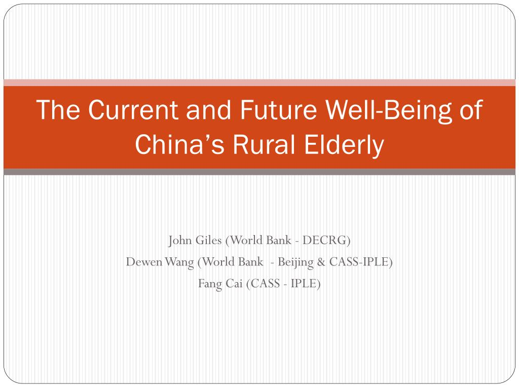The Current and Future Well-Being of China's Rural Elderly