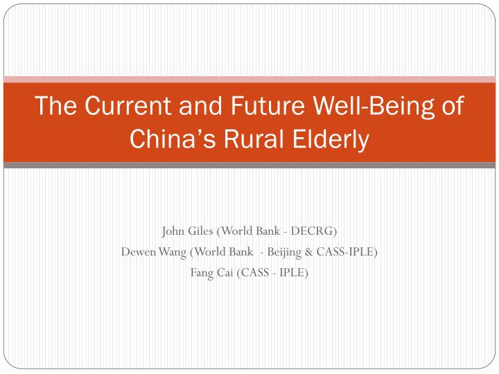 The current and future well being of china s rural elderly