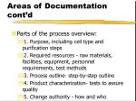 areas of documentation cont d