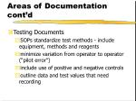 areas of documentation cont d13