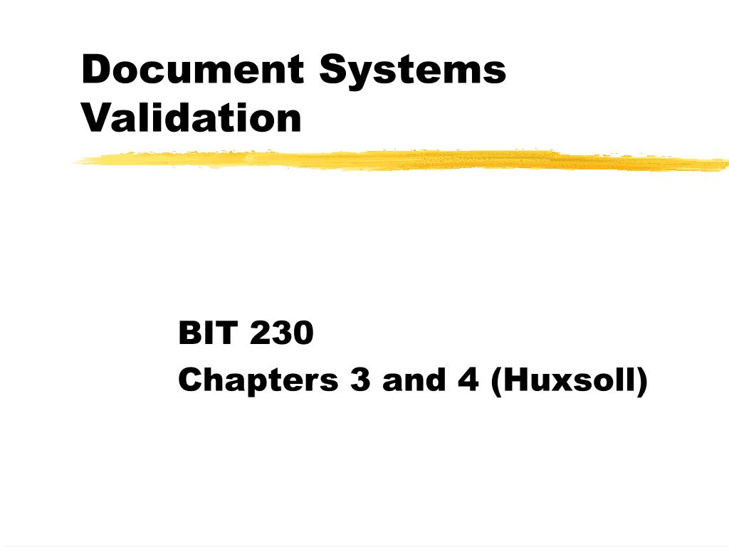 document systems validation l.