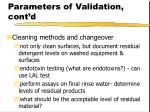 parameters of validation cont d37