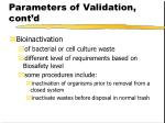 parameters of validation cont d38