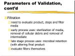 parameters of validation cont d43