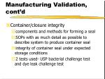 pharmaceutical manufacturing validation cont d51