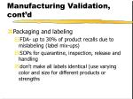 pharmaceutical manufacturing validation cont d52