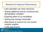 research to improve performance